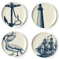 Thomas Paul Melamine scrimshaw dessert plates, set of 4