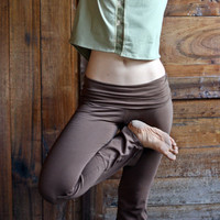 Fold Over Waist Yoga Pants in brown, women's yoga pants