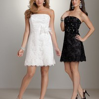 Short Strapless Lace Wedding Dress Satin Waistband Beach Dresses Reception Dresses YSP311 - $110.89 : DressLoves.com.