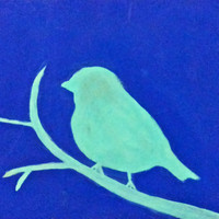 10% off sale Small Bird Silhouette 8x10.5 print of original painting by Amanda Pennington
