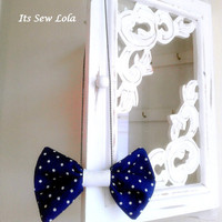Bowtie Necklace Navy Polka Dot on Chain