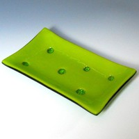 Holely Lime Green Fused Glass Dish - 7 x 4