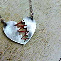 Mended Heart necklace. Sterling Silver and Thread. Heartbreaker Necklace. Broken Heart. Stitched Heart.
