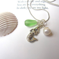 Sea glass Mermaid Necklace in Light Green - Mermaid Bridesmaids necklace for Beach Theme Wedding - FREE SHIPPING