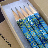 back to school japanese paper-wrapped pencils - set of 5 - the siren's haven