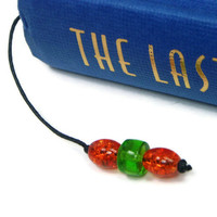 Book Thong Bookmark Beaded Orange Green