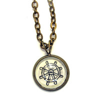 Ship Wheel Illustration Mini Nautical Necklace Brass Sailor Pendant