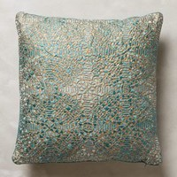 Crocheted Bihari Pillow by Anthropologie Sky 18 In. Square Pillows