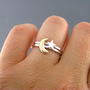 Moon And Star, Custom Sterling Silver And Brass Rings, Set Of 2 rings