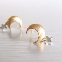 Star Moon Earrings - teeny tiny brushed gold crescent moon stud post with a bitty matte silver rhodium star dangle - Little Wishes