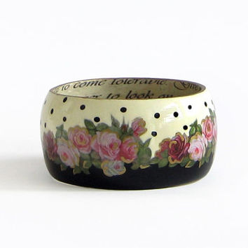 Two colored wood bangle bracelet floral statement bangle decoupage romantic rose ivory & black polka dots