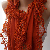 Brick Color / Elegance Shawl / Scarf with Lace Edge