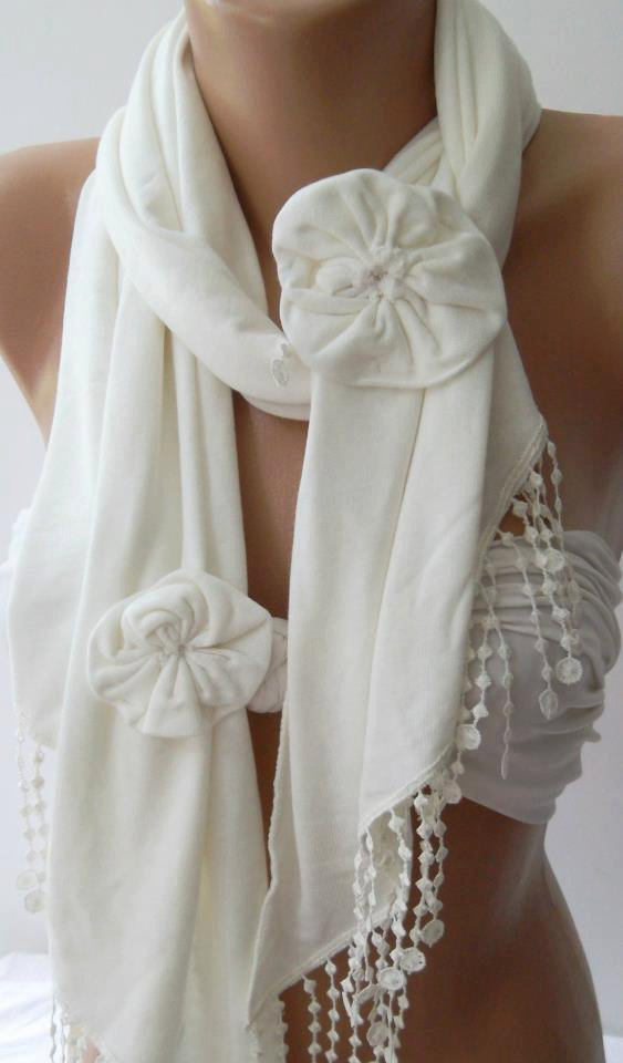 Ivory  White /Elegance Shawl / Scarf with Lace Edge