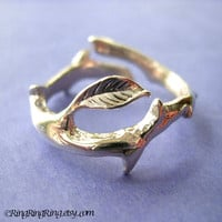 Thorn with leaf ring jewelry - 925 Solid sterling silver ring. Size adjustable 072012