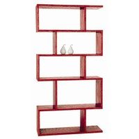 Carmine Red Limed Oak Veneer Bookshelf