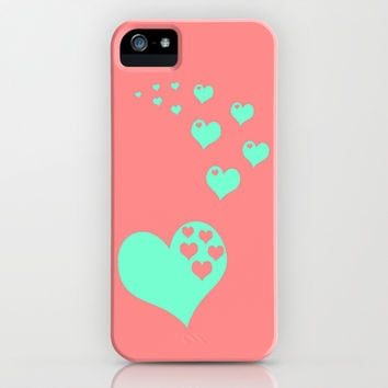 Love Coral Mint iPhone & iPod Case by Beautiful Homes