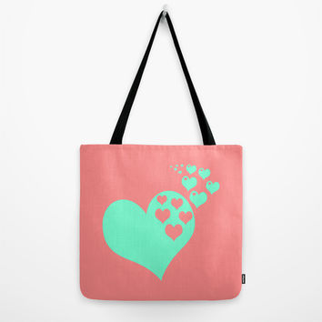 Love Coral Mint Tote Bag by Beautiful Homes