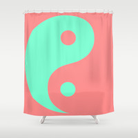Yin Yang Coral Mint Shower Curtain by Beautiful Homes