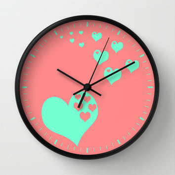 Love Coral Mint Wall Clock by Beautiful Homes
