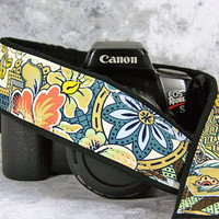 Floral dSLR Camera Strap, Floral Abstract, Two lengths, Custom, 154 cw