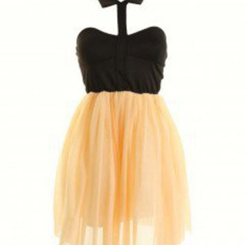 LOVE Black And Peach Sarah-Jayne Collar Dress - Love