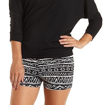 Tribal Print Bike Shorts by Charlotte Russe - Black Combo