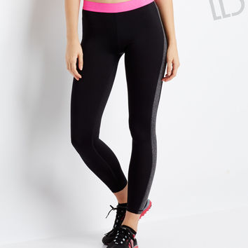 Aeropostale LLD Neon Logo Stripe Leggings - Black,