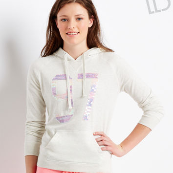 Aeropostale LLD Sparkle 97 Popover Hoodie - Vanilla And Vanilla Heather,