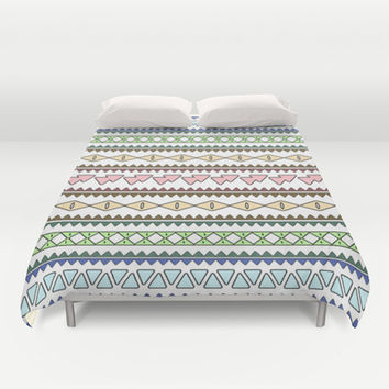 Geometric Pastels Duvet Cover by Alice Gosling