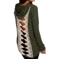 Olive Crochet Back Hooded Sweatshirt