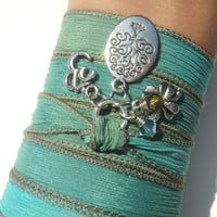 Tree of Life Namaste Silk Wrap Bracelet Om Jewelry Yoga Mother Nature Green Aqua Blue Anklet Necklace Earthy Unique Gift Under 50 Item S72