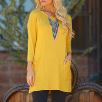 Cute As A Button Tunic - Mustard (Small to 3XL)