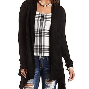 Ribbed Cascade Cardigan Sweater by Charlotte Russe - Black