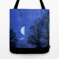 Moon between Trees  - JUSTART © Tote Bag by JUSTART  * Syl *
