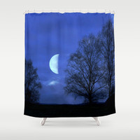 Moon between Trees  - JUSTART © Shower Curtain by JUSTART  * Syl *