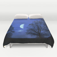 Moon between Trees  - JUSTART © Duvet Cover by JUSTART  * Syl *