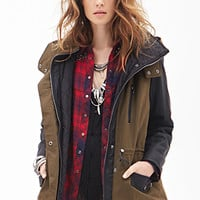 FOREVER 21 Faux Leather & Canvas Coat Olive/Black