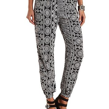 Tribal Print Jogger Pants by Charlotte Russe - Black/White