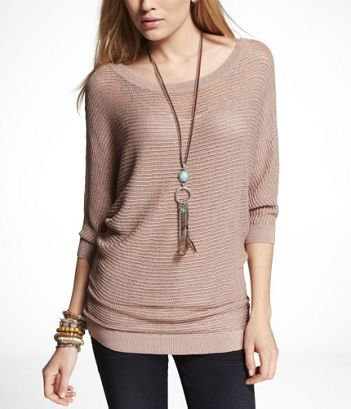 LUREX MESH DOLMAN SWEATER at Express
