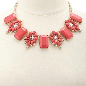 Faceted Stone Statement Necklace by Charlotte Russe - Pink
