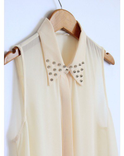 Sheer Light Cream Spike Tank