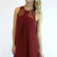 Missing Pieces Shift Dress in Wine | YA Los Angeles