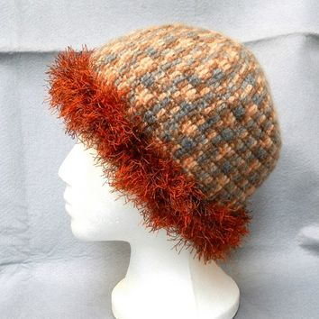 Cute womens multicolored mohair crochet hat with fancy trimming