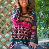 Striped Aztec Tunic, Fuchsia