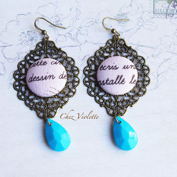 Pink Blue earrings, Fabric earrings, typography earrings, handwriting jewelry, romantic earrings