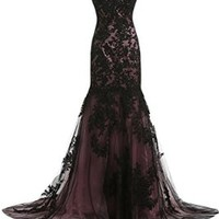 Sunvary Vintage Black Lace Applique Mermaid Mother of the Bride Dresses Long
