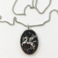 Pegasus Necklace / mythical jewelry / pegasus jewelry / mythical creature / pegasus charm pendant / black necklace / metal jewelry