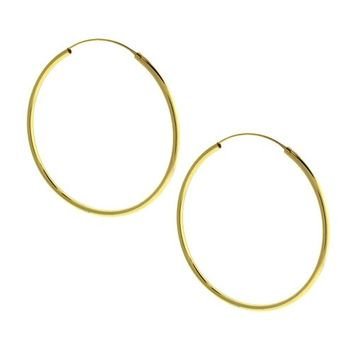 Beverly Madison Gold Plated Sterling Silver Large Hoop Earrings