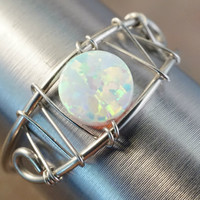 Beautiful White Opal Ring Wire Wrapped Silver or Gold - Made in Your Size