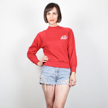 Vintage 80s Sweatshirt Red White Nautical Ship HMS Bounty Screen Print Novelty Print Sweatshirt Pullover Jumper 80s Tshirt Top S Small M